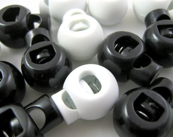 Black or White Cord Locks / Stoppers / Toggles