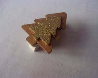 Glitter Christmas tree gold, mounted on clothespin - 4 cm x 3.3 cm