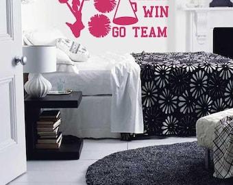 Wall Decal Cheerleader Graphics Go Team Win Cheer Pom Poms Girls Room