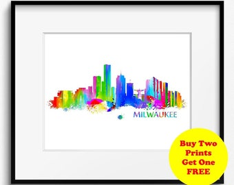 Milwaukee Skyline Watercolor Art Print (035)