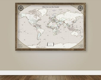 Push Pin Personalized World Map Push Pin Travel Map for Push Pins Map with Cities Push Pin Personalized Map Wedding Gift for Groom Custom