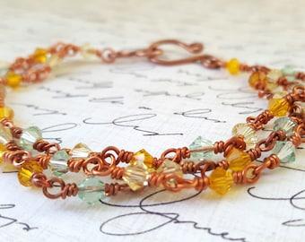 Yellow Orange Green Bracelet - Copper Wire Wrapped Bracelet - Swarovski Crystal Bracelet - Spring Bracelet - Multi Strand Bracelet - Boho