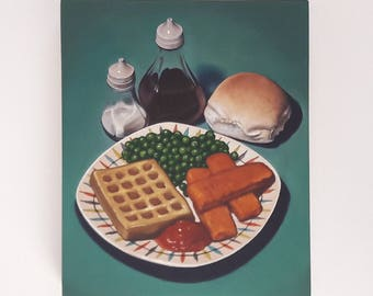Original oil painting,  Fishfingers and potato waffle, still life