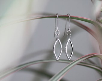 Leaves  . Glass and sterling silver earrings. Transparent earrings. Glass earrings. Minimalist earrings