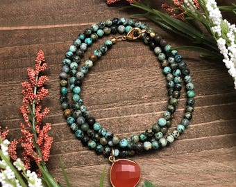 African Turquoise Necklace with Carnelian Pendant
