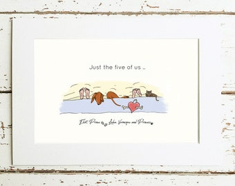 Personalised Comissioned print for dog and Vizsla lovers *Add your own pets*