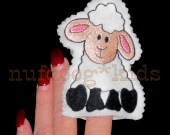 In-The-Hoop Easter Felt FINGER PUPPET LAMB Machine Embroidery Applique 4x4 hoop