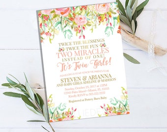 Twin baby shower invitation etsy twin baby shower invitation twin girls baby shower invitation twins baby shower invitation floral gold baby shower invitations printable filmwisefo