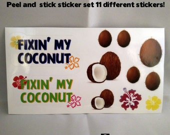 Fixin my Coconut sticker set, Baby Helmet bling, cranial helmet decal, star band, doc band