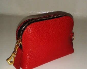 Red - mixed goat leather purse.
