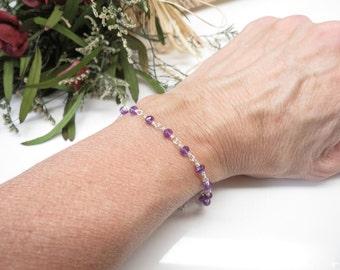 Amethyst Bracelet, February Birthstone, Purple Birthstone In Sterling Silver, 6.5-8 Inches, Purple Gemstone Bracelet, Wire Wrapped Bracelet