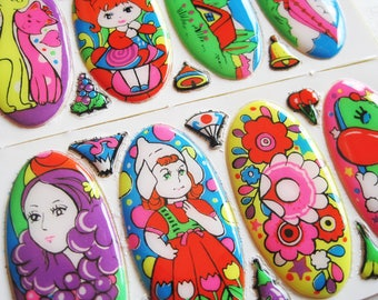 Vintage Japanese Stickers! - Neon Nature!
