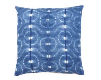 "Katano Shibori Pillow // Linen // Hand Dyed // Indigo // Cushion // 20"" x 20"""