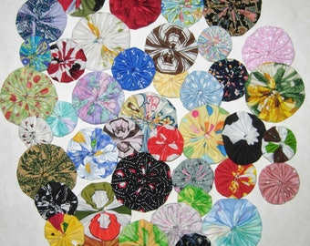 Fabric YoYo Assortmenmt, 40 Multi Color, 4 Sizes Plus Miniatures, Crafting, Appliques, Embellishments