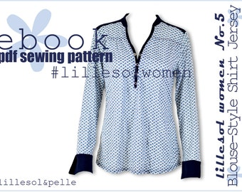 Ebook pdf sewing pattern lillesol women No.5 Blouse style Shirt JERSEY  / Woman / Instant Download / photo instruction