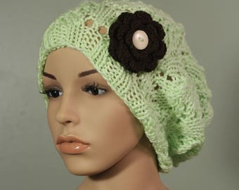Super Slouchy Hat with or without Flower - Pistache - Handknit Cap - Women's - Coffee Flower - Interchangeable