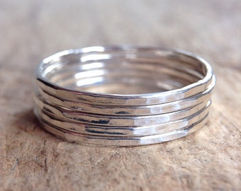 Five Stackable Rings, 5 Rings, Sterling Silver Ring, Silver Stacking Rings, Skinny Ring, Gift For Her, Bohemian Ring, Bohemian Jewelry
