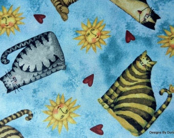 """One Fat Quarter Cut Quilt Fabric, Cats, Sun, Hearts on Aqua, """"Home Sweet Home"""" by Debi Hron 4 SPX Fabrics, Sewing-Quilting-Craft Supplies"""
