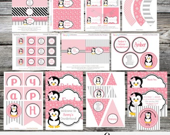 Party Package -Penguin -DIY Package -Birthday -Baby Shower -Banner -Favor Tags -Tent Cards -Cupcake Toppers -Winter Onederland -Christmas