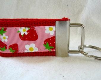 Strawberry Small Keychain - Mini Strawberry Key Fob - Short RED Key Fob - Fruit Zipper Pull - Summer Key Chain