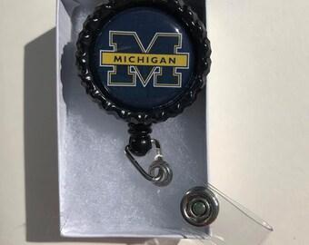 Michigan Wolverines Retractable ID Badge Reel, Michigan Wolverine magnets, Michigan Wolverine earrings, Michigan Wolverines keychain