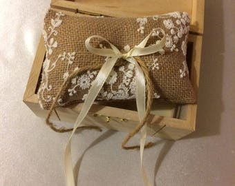 Mini Ring bearer pillow with wooden box