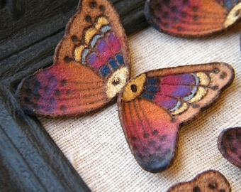VERY LIMITED Sunset Rainbow - Hand Painted Leather Butterfly Wings - rustic suede pyrography focal pendants - mirrored pair (ready to ship)