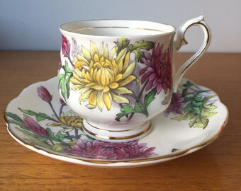 """Royal Albert """"Chrysanthemum"""" Tea Cup and Saucer, Flower of the Month Teacup, November Birthday Gift, Pink Yellow Flower Vintage Bone China"""