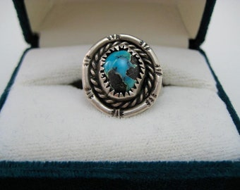 Turquoise & Silver Ring Size 7 1/2 - 1980s - Vintage - ECS