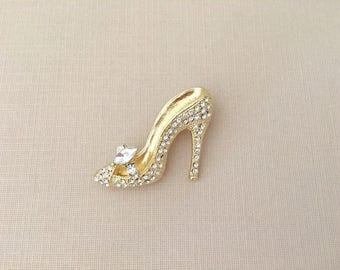 Gold Shoe Brooch.High Heel Brooch.High Heel Pin.Gold Rhinestone.High Heel broach.Princess Style.clear.gold high heel brooch pin.crystal
