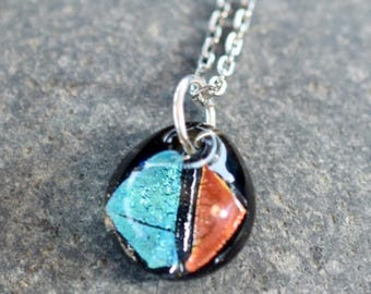 Dichroic Teeny Glass Pendant Necklace Boro Lampwork on Chain - Aqua Red