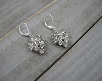 rhinestone cluster dangle lever back earrings, on new sterling silver leverbacks, prongset, vintage dangles made into pierced earrings