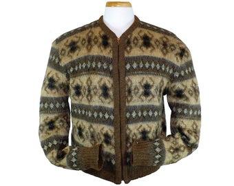 Mohair Vintage 1960's Men's Zippered Cardigan Sweater Wool Sweater, Medium