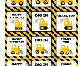 Cupcake topper, party printable, construction, thank you, hang tag, sticker, label, boy birthday party, party decor, diy, instant download