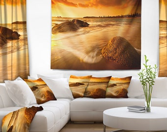Designart Sun Tinted Beach Photography Wall Tapestry, Wall Art Fit for Wall Hanging, Dorm, Home Decor