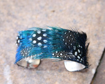 Genuine Blue Peacock and Spotted Black and White Guinea Hen Feather and Cuff - Mini 1 inch