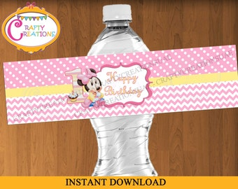 INSTANT DOWNLOAD - Baby Minnie Mouse First Birthday Water Bottle Label - Baby Minnie Mouse water bottle labels - Baby Minnie Label-Printable