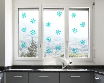 Snowflake Wall Confetti. Set of 40 – 3 inch (2.67 cm) Snowflake wall decals  -  snowflake decal for walls,  snowflake stickers