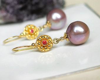 Mauve Champagne Baroque Pearl Earrings | Edison Freshwater Pearls - Red Sapphire | 14k Yellow Gold - 24k Gold Vermeil | Mother's Day Gift