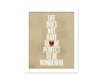 Digital Art Print Wonderful Life - Latte Beige Dots Typographic Poster