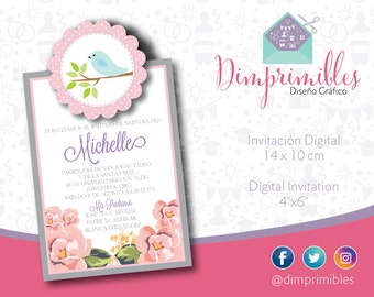Baptism Invitation - Christening Invitation - Girl Christening - Printable Baptism - Printable Christening