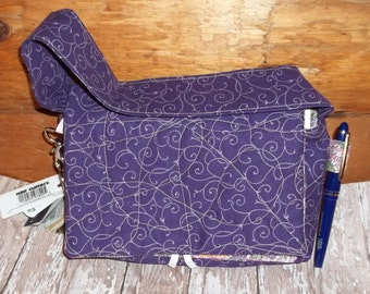 """Purple Elegantl Pink Swirl Fabric Coupon Organizer Tote Bag Quilted Sorts Coupons with Key and Pen Hoder 7' 'x 9"""" X 2"""" wide"""