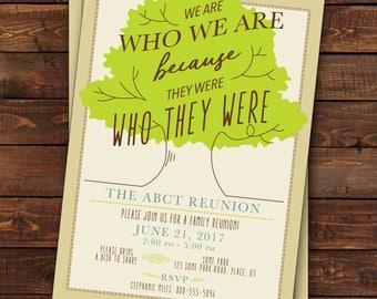 Family Reunion Invitation, Tree Family Reunion Invitation, Family Tree We  Are Who We Are