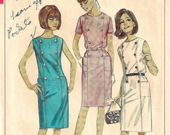 """A Sleeveless/Short Sleeve, Round Neckline, Side Patch Pockets, Straight Dress Pattern for Women: Retro Size 12, Bust 32"""" • Simplicity 6532"""