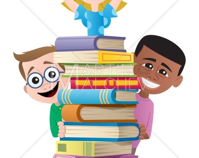 Books and Kids - Vector Cartoon Clipart Illustration. book, child, kid, boy, girl, student, learning, school, back to school, library,