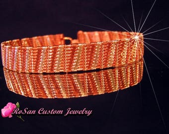 Copper and Sterling Silver Wire Woven Tennis Bracelet,Sterling Silver and Copper Wire Bracelet,Sterling,Copper,Bracelet,Bangle,Cuff Bracelet