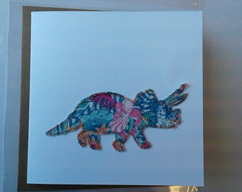 Original Textile Art Hand Made Triceratops Greetings Card