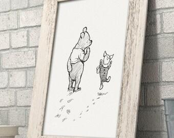 Winnie the Pooh and Piglet 11x14 Unframed Nursery Art Print