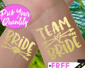 Team Bride Tattoos | bachelorette party tattoo, gold metallic temporary tattoo, gold foil tattoo, bridesmaid gifts, gold tattoo, favor