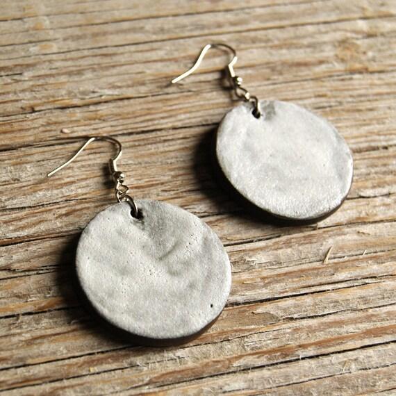 LARGE matte white round stoneware drop earrings